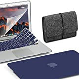 GMYLE 4 in 1 MacBook Air 13 Bundle Navy Blue Matte Set Plastic Hard Case Cover, Felt Storage Pouch Bag with Keyboard Skin, Screen Protector for MacBook Air 13 inch (A1369/A1466)