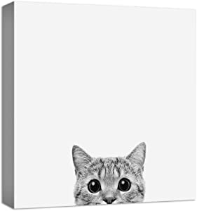 NWT Canvas Wall Art Curious Pets Cat Black and White Painting Artwork for Home Prints Framed - 12x12 inches