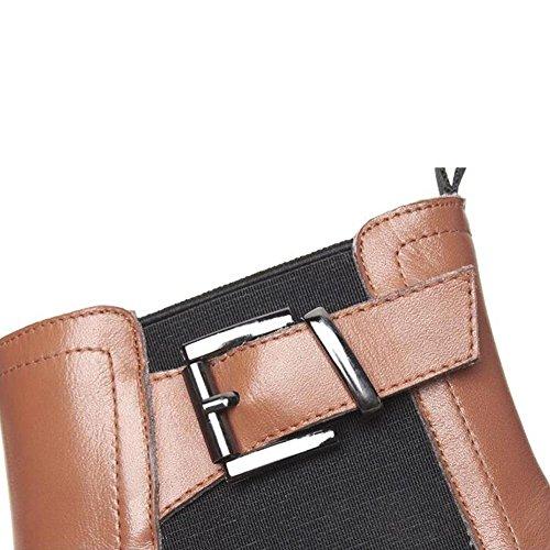 Boots Ankle Elastic Short Women's NSXZ BLACK 35 Fashion Leather Genuine 6qxZpfwO