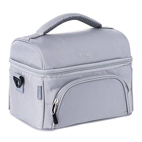 Bentgo Lunch Bag (Gray) - Insulated Lunch Tote for Work and School with Top and Main Compartments, 2-Way Zipper, Adjustable Strap, and Front Pocket - Fits All Bentgo Lunch Boxes and Other Containers