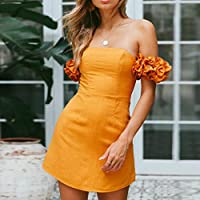 HODOD Women Sexy Off Shoulder Casual Solid Ruffles Mini Party Prom Beach Dress