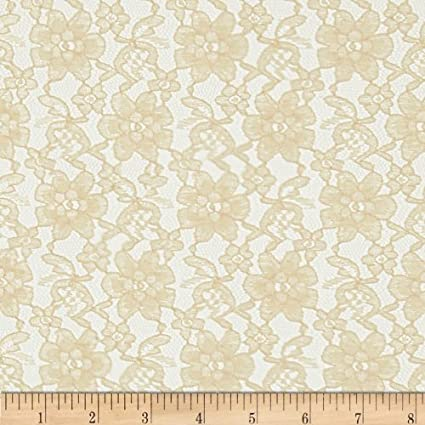 Ben Textiles Raschelle Lace Champagne Fabric By The Yard