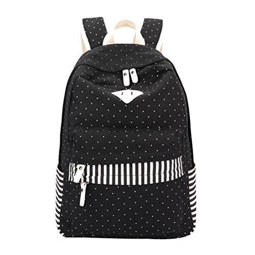 femmes adolescents Fringe Sacs Impression Point à dos d'Étudiant les féminine Black Mochila Pink Winnerbag Toile sac d'école filles pour dos à Sac 7tISWqIw