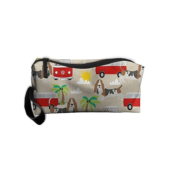Travel Makeup Basset Hound Dog Beach Bus Hippie Bus Palm Trees Cosmetic Pouch Makeup Travel Bag Purse Holiday Gift For Women Or Girls 1