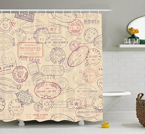 Ambesonne Vintage Shower Curtain, Retro Design Inspired Postage Illustration with Beige Background Antique Stamps, Cloth Fabric Bathroom Decor Set with Hooks, 70