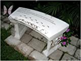 Hand Crafted 'Footprints' Cast Stone Garden Bench By Southwest Graphix. Personalization Available Review