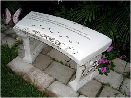 Hand Crafted 'Footprints' Cast Stone Garden Bench By Southwest Graphix. Personalization Available For Sale