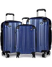 """Kono Conjuntos de equipaje de 3 piezas con 8 ruedas giratorias dobles de 360°, juego de maletas rígidas con doble cremallera YKK para viajar, azul marino (20""""/24""""/28'')"""