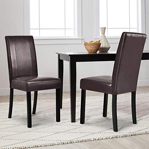 æ— Ensemble de 2 chaises de salle à manger en tissu moderne avec assise rembourrée et assise douce, fauteuils à dossier haut dossier pour la maison et le commerce