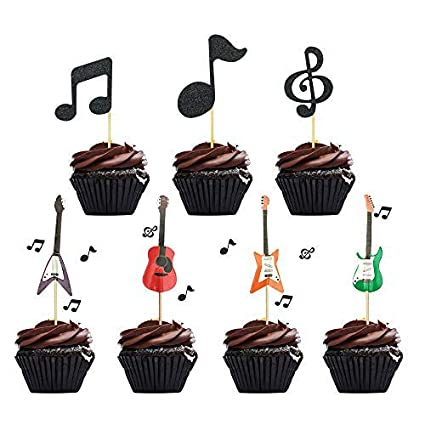 Awesome 48 Pcs Music Notes Cupcake Toppers Guitar Cake Toppers For Kids Funny Birthday Cards Online Alyptdamsfinfo