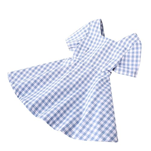 Price comparison product image Toddler Baby Girls Casual Dresses,  Summer Cute Short Sleeve Gingham Pattern A Line Sundress Size 1-4 Year Old (4T,  Blue)
