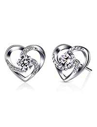 B.Catcher Earrings for Women Love Heart Stud Jewelry, 925 Sterling Silver Cubic Zirconia Earrings Set
