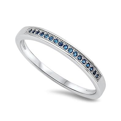 74f5267ea2c9e Amazon.com: Sterling Silver Simulated Blue Sapphire Stackable Ring ...