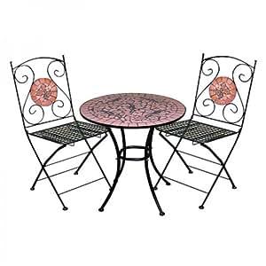 Homy - Conjunto para Jardín MOSAICO, 1 mesa + 2 sillas, color Terracota