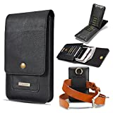 Mens Fashion Leather Waist Belt Bag Small Hook Fanny Waist Bag Hip Bum Pack,Card Slots and Small Messenger Waist Bag Pack 6.2 inch (Black)