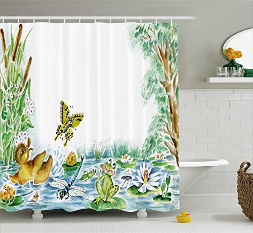 Ambesonne Kids Shower Curtain by, Butterfly Duckling and Frog Playing Together on Pond Flowers Trees Dragonfly, Fabric Bathroom Decor Set with Hooks, 70 Inches, Green Brown ()
