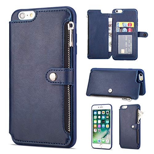Leather Zipper Back Wallet Case for iPhone 6 Plus,Yobby iPhone 6S Plus Slim Blue Case with Card Holder,Shockproof Protective Bumper Stand Magnetic Closure Cover