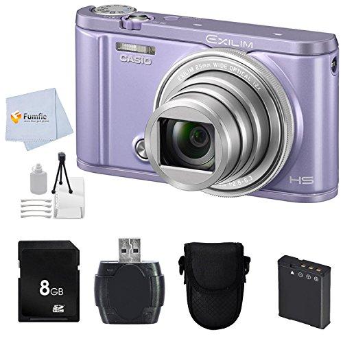 Casio Exilim EX-ZR3600 EX-ZR3600VT Selfie Digital Camera (Violet) + 8GB Memory Card + Reader + Camera Case & More -  Fumfie