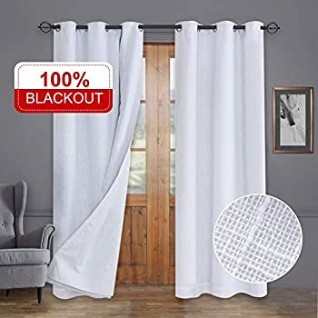 Rose Home Fashion Primitive Linen Look, 100% Blackout Curtain(with Liner), White Blackout Curtains&Thermal Insulated Curtains for Living Room/Bedroom,Burlap Curtains-40x84, White, Set of 2 Panels