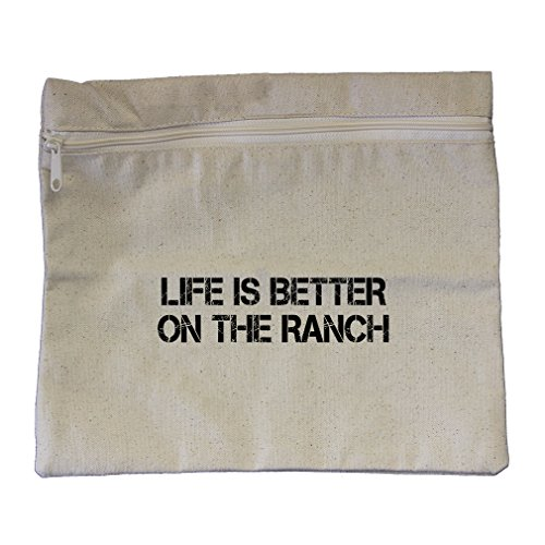 Zippered Ranch - Life Is Better On The Ranch Canvas Zippered Pouch Makeup Bag