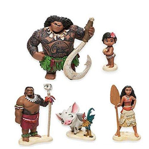 Antique Doll Wig (Full Set Moana Action Figures ~Maui,Toddler Moana,Chief Tui, Pua and Hei Hei,Moana Princess ~ Vaiana Toys Doll For Kid Gift)