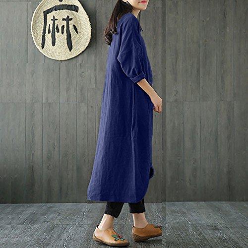 bohme Grande Longue en Femme Plage Section Marine Femme Taille Robe pour de Manches rtro Robe Chemise Coton Longues Automne Jupe 1wCSRXpq