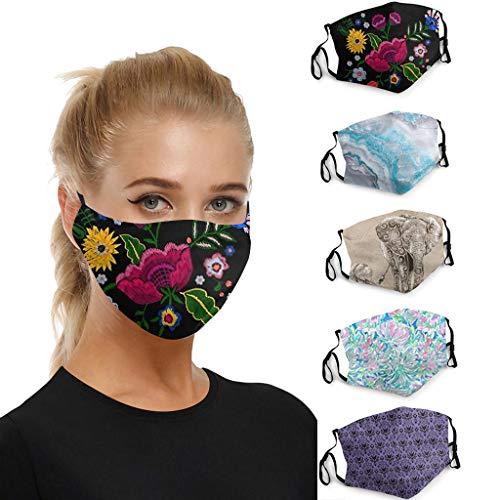 Daringjourney UK 4/5pcs Fashion Funny Patterned Face_Másks Washable Reusable Double Layer Face Cover Dust Protective…