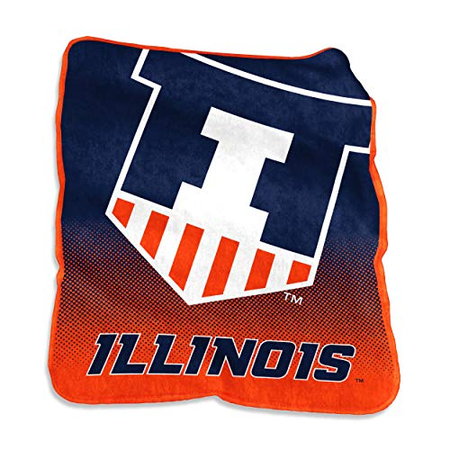 Logo Brands NCAA Illinois Illini Unisex Raschel Throwraschel Throw, Carrot, N/A (Fighting Illini Blanket)