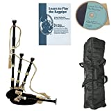 Roosebeck Full Size Ebony Bagpipe with Black Cover Deluxe Package w/Gig Bag, Book and CD