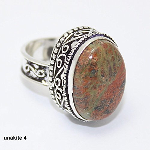 Unakite Ring Silver Overlay Fashion Jewellery Vintage Handmade Jewelry 7.50 US Size. (Earrings Hook Unakite)