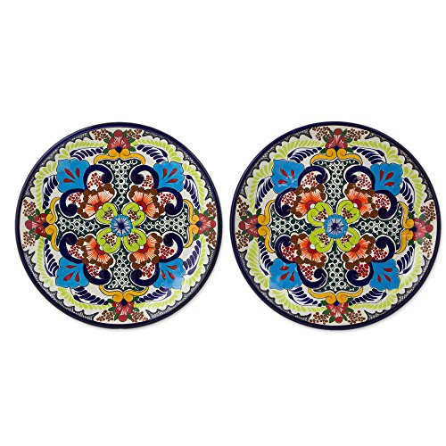 NOVICA Multicolor Ceramic Floral Dinner Plates 'Blue Teziutlan' (pair)