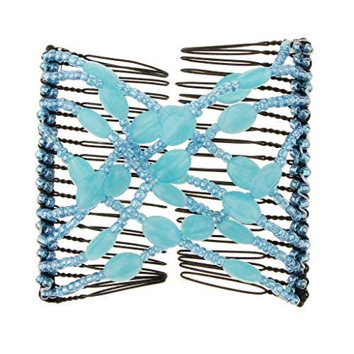 Women Elastic Magic Hair Combs Beaded Double Hair Clips Accessories (Color - Blue) (Pierced Lighting Piece 2)