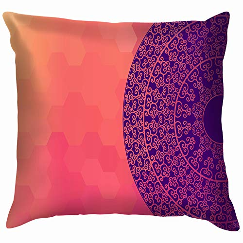 Ethnic Colorful Henna Mandala Design Very Indian Soft Cotton Linen Cushion Cover Pillowcases Throw Pillow Decor Pillow Case Home Decor 16X16 Inch