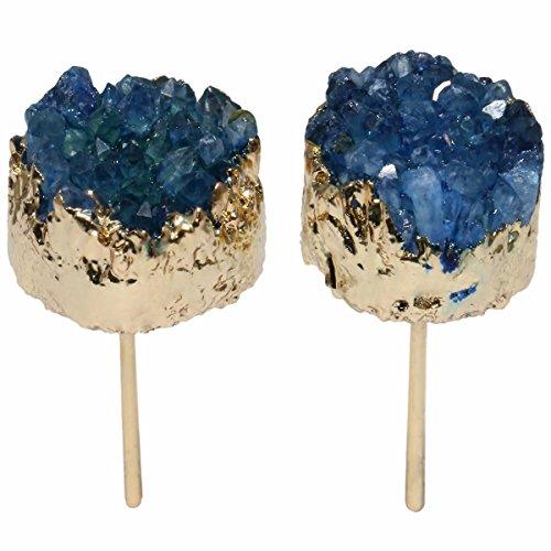 TUMBEELLUWA Druzy Stud Earrings for Women Titanium Coated Quartz Crystal Jewelry, Blue Geode Quartz