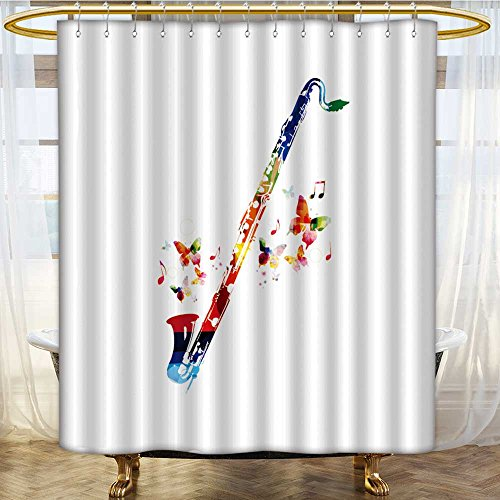 amapark shower curtain liner classical bass clarinet non toxic for bathroom. Black Bedroom Furniture Sets. Home Design Ideas