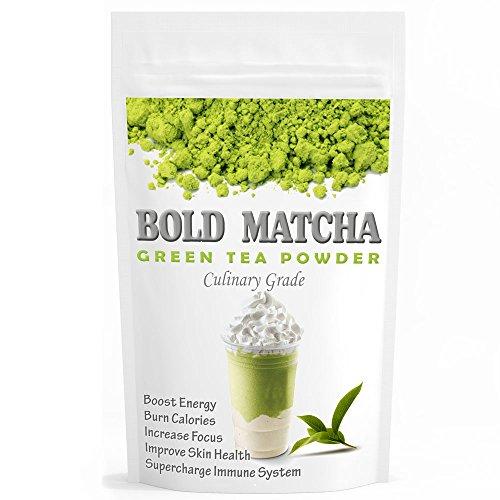 Bold Matcha (16oz) - USDA Organic, Non-GMO Certified, Vegan and Gluten-Free. Pure Matcha Green Tea Powder. Incredible Flavor, Delicate Aroma, Natural Energy Booster and Fat (Energy Booster Green)