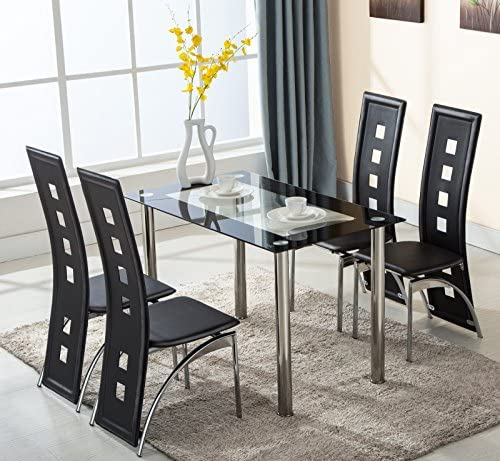 KingMountain 5 Piece Glass Dining Table Set 4 Leather Chairs Kitchen Room Breakfats Furniture Black