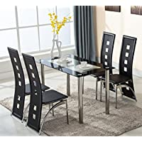 KingMountain 5 Piece Glass Dining Table Set 4 Leather Chairs Kitchen Room Breakfats Furniture (Black)