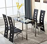 KingMountain 5 Piece Glass Dining Table Set 4 Leather Chairs Kitchen Room Breakfats Furniture (Black) Review