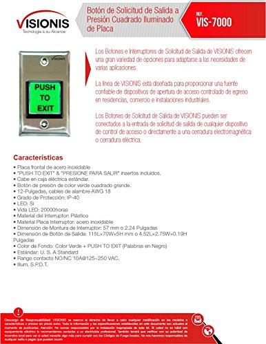 Visionis VIS-7000 Botón de Solicitud de Salida Cuadrado Verde para Control de Acceso con Luz LED, Salidas NC, C y NO - - Amazon.com