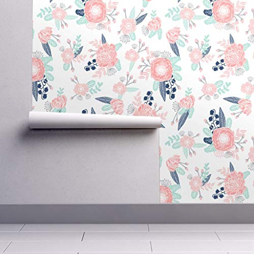 Peel-and-Stick Removable Wallpaper - Pastel Posy Petals Leaves Mint Florals Flower Nursery Blossom Blooming by Charlottewinter - 24in x 108in Woven Textured Peel-and-Stick Removable Wallpaper Roll