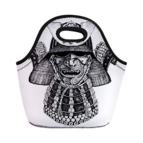 Semtomn Neoprene Lunch Tote Bag Ink Samurai Armor Warrior of Japan Japanese Culture War Reusable Cooler Bags Insulated Thermal Picnic Handbag for Travel,School,Outdoors, Work