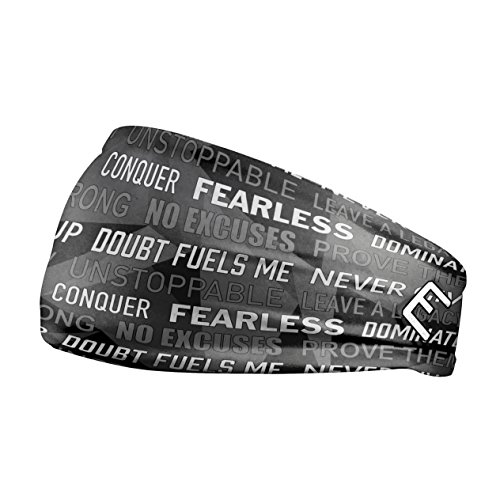 Unisex Headband / Sweatband. Best for Sports, Fitness, Working Out, Yoga. Tapered Design. (Black Motivational)