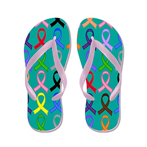 CafePress Awareness Ribbon Support - Flip Flops, Funny Thong Sandals, Beach Sandals Pink
