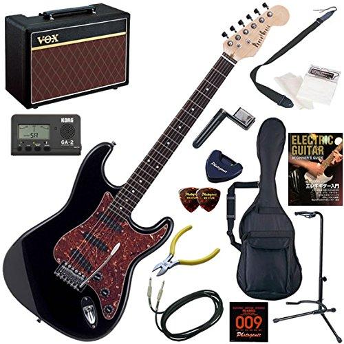 Photogenic エレキギター 初心者 入門 ストラトタイプ 人気のVOX Pathfinder10が入った本格14点セット ST-200/BK(ブラック) B0050Y5OY8  BK(ブラック)