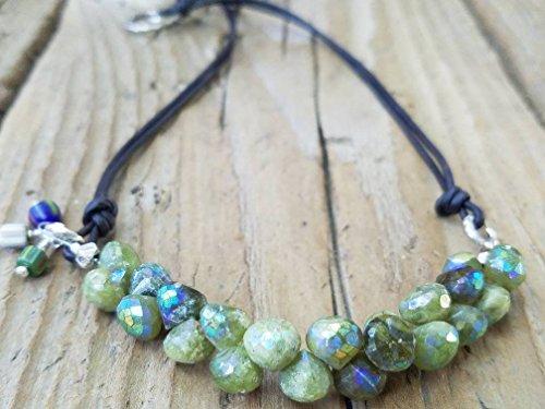 Mystic Vesuvianite and Hill Tribe Silver Necklace