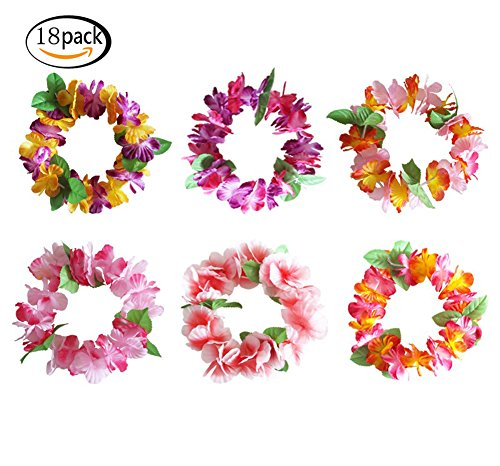 (JSSHI 18 PCS Colorful Luau Tropical Hawaiian Headband Headpiece Leis Flowers for Party Supplies,Birthday Party Favors,Wedding,Easter Decorations)