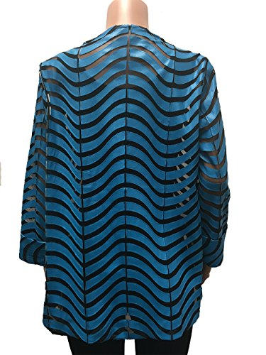 IC Collection Faux Leather Designer Jacket in Blue 2596 (Medium) by IC Collection (Image #2)