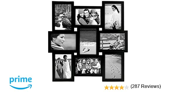 amazoncom malden international designs home profiles puzzle collage picture frame 9 option 9 4x6 black