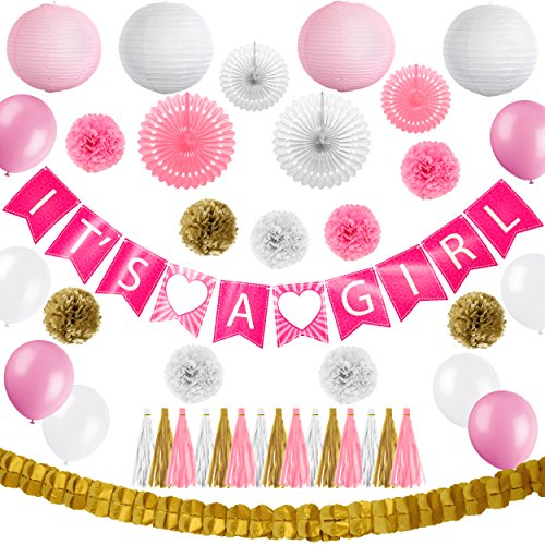 46 Pcs Happy Birthday Baby Shower Banner Pink and Gold - Girl Baby Shower Decor Set - Its a Girl Garland Bunting Banner - Pom Pom Flowers - Tassels - Balloons - Garland - Paper Lanterns - All-in-1 Set (Black 1 White Twin 1)